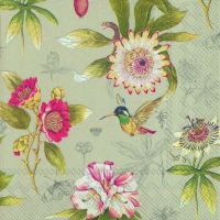Lunch Servietten HUMMINGBIRD AND BLOSSOMS linen
