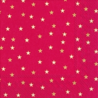 Servietten 33x33 cm - LITTLE STARS red gold