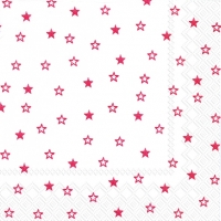 Servietten 33x33 cm - LITTLE STARS white red