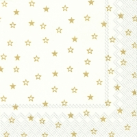 Servietten 33x33 cm - LITTLE STARS white gold