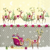 Lunch Servietten REINDEER SLEIGH grey