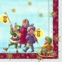 Servietten 33x33 cm - SANTA WITH KIDS (V&B)