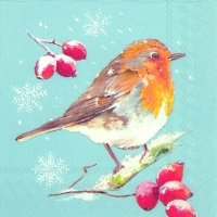 Lunch Servietten WINTER ROBIN light blue