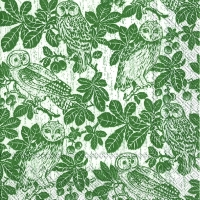 Lunch Servietten OWLS AND BRANCHES green