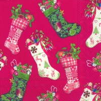 Lunch Servietten CHRISTMAS STOCKINGS red