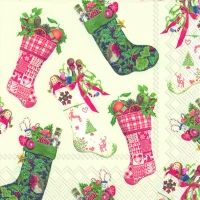 Lunch Servietten CHRISTMAS STOCKINGS white