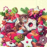 Lunch Servietten CHRISTMAS MICE cream
