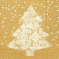 Lunch Servietten CHRISTMAS LACE gold