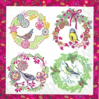 Lunch Servietten BIRDS AND WREATHS red