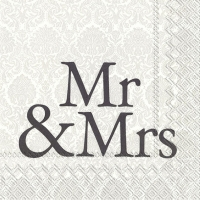 Servietten 33x33 cm - MR & MRS black