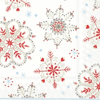 Lunch Servietten WINTER CRYSTALS white red