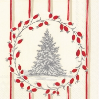 Lunch Servietten SNOWY TREE red