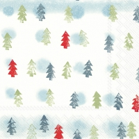 Servietten 33x33 cm - WINTER TREES light blue