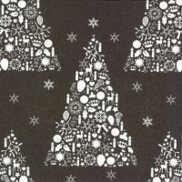 Servietten 33x33 cm - SWEET MERRY CHRISTMAS black