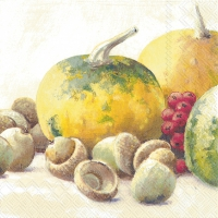 Servietten 33x33 cm - PUMPKIN AND ACORNS cream