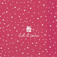 Servietten 33x33 cm - LET IT SNOW red