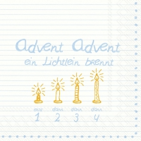 Servietten 33x33 cm - ADVENT, ADVENT .... hellblau
