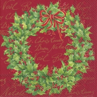 Lunch Servietten HOLLY WREATH red