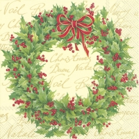 Lunch Servietten HOLLY WREATH cream