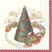 Servietten 33x33 cm - CHRISTMAS TRAIN IN TOWN (V&B)