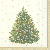 Servietten 33x33 cm - SHINY CHRISTMAS TREE cr. gold
