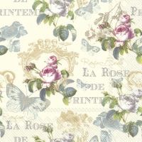 Servietten 33x33 cm - ROSE DE PRINTEMPS Creme