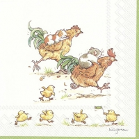 Servietten 33x33 cm - RUN ROOSTER RUN white