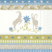 Servietten 33x33 cm - MOUNTAIN CHARM blau