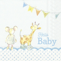 Lunch Servietten HELLO BABY light blue