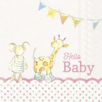 Servietten 33x33 cm - HELLO BABY light rose