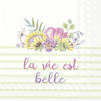 Servietten 33x33 cm - LA VIE EST BELLE light green