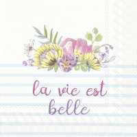 Lunch Servietten LA VIE EST BELLE light blue