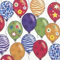 Servietten 33x33 cm - PARTY BALLONS weiß