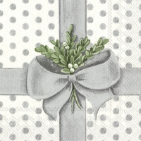Servietten 33x33 cm - A PRESENT FOR YOU silver