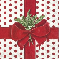 Servietten 33x33 cm - A PRESENT FOR YOU white red