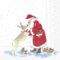 Servietten 33x33 cm - SANTAS BEST FRIEND white