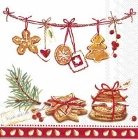 Servietten 33x33 cm - COOKIES, MADE WITH LOVE red