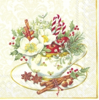 Servietten 33x33 cm - CUP OF CHRISTMAS weiß