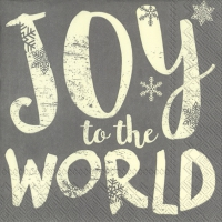 Servietten 33x33 cm - JOY TO THE WORLD grau