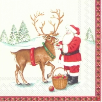 Servietten 33x33 cm - SANTA AND DEER (V&B)