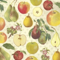 Servietten 33x33 cm - APPLE AND PEAR cream