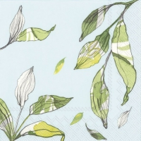 Servietten 33x33 cm - LEAVES light blue