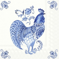 Servietten 33x33 cm - DECORATIVE ROOSTER white blue