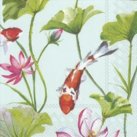 Servietten 33x33 cm - KOI AND WATERLILY light blue