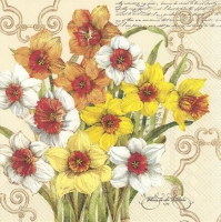 Servietten 33x33 cm - DECORATIVE DAFFODIL