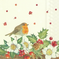 Servietten 33x33 cm - WELCOME RED ROBIN cream