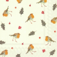 Servietten 33x33 cm - LITTLE RED ROBINS cream