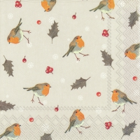 Servietten 33x33 cm - LITTLE RED ROBINS linen