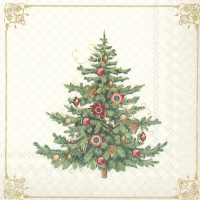 Servietten 33x33 cm - NOSTALGIC CHRISTMAS TREE cream