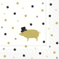 Servietten 33x33 cm - MR PIG gold